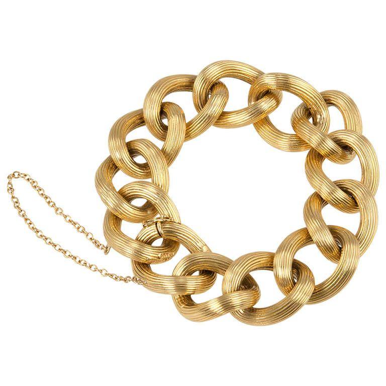 Gold Link Bracelet Gold link bracelet Jewelry bracelets and 1960s