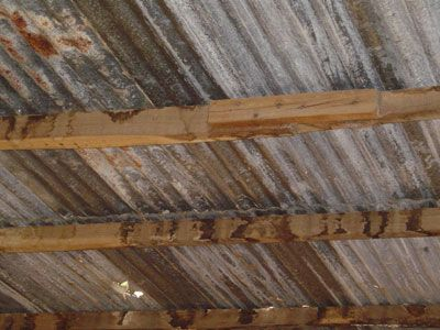 corregated metal ceiling ideas Corrugated Metal Roof Damage