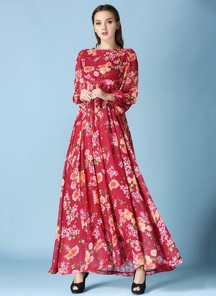 Chiffon Floral Long Sleeve Maxi Vintage Dresses