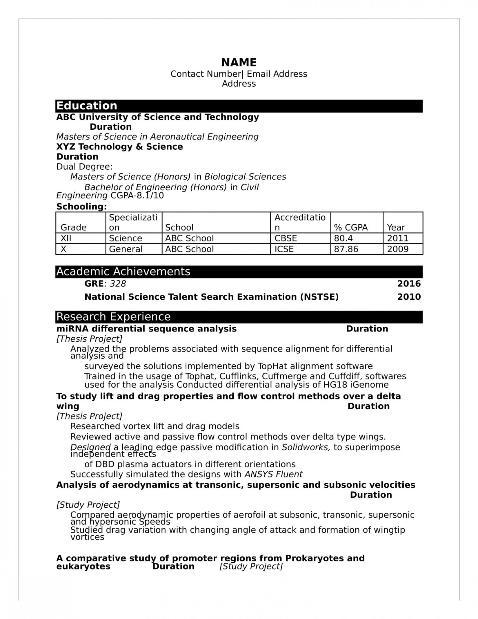 12 Bsc Brisker Resume Format Obtain in 2020 Engineering