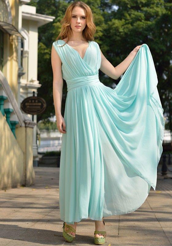 Hellblau pastell abendkleid chiffon plissee maxikleid elegant wickelkleid himmelblau kleid lang - Plissee kleid lang ...