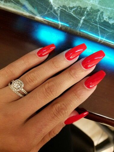 Ferrari Red Lovelovelove With Images Red Acrylic Nails Fall