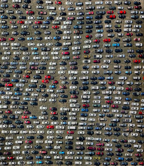 Hundreds of abandoned cars that were damaged by Hurricane