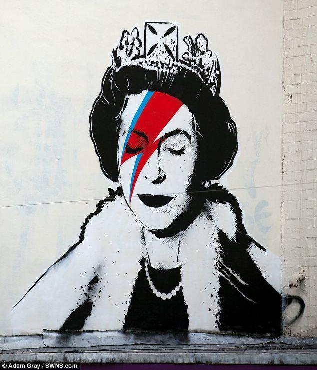 Banksy draws the Queen as Ziggy Stardust