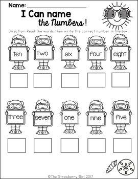 Free Kindergarten Math Worksheets All Seasons Bundle With
