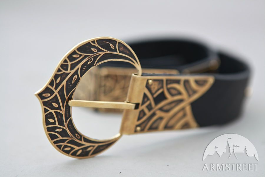 Fantasy Medieval Style Leather Belt with Etched Brass Accents