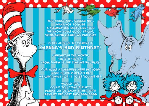Dr Seuss Invitations Digital Print as many as by digitalparties...maybe