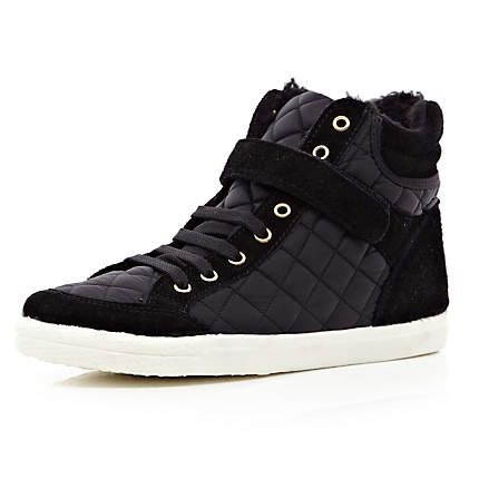 Black quilted panel high tops - high tops - shoes / boots - women river island