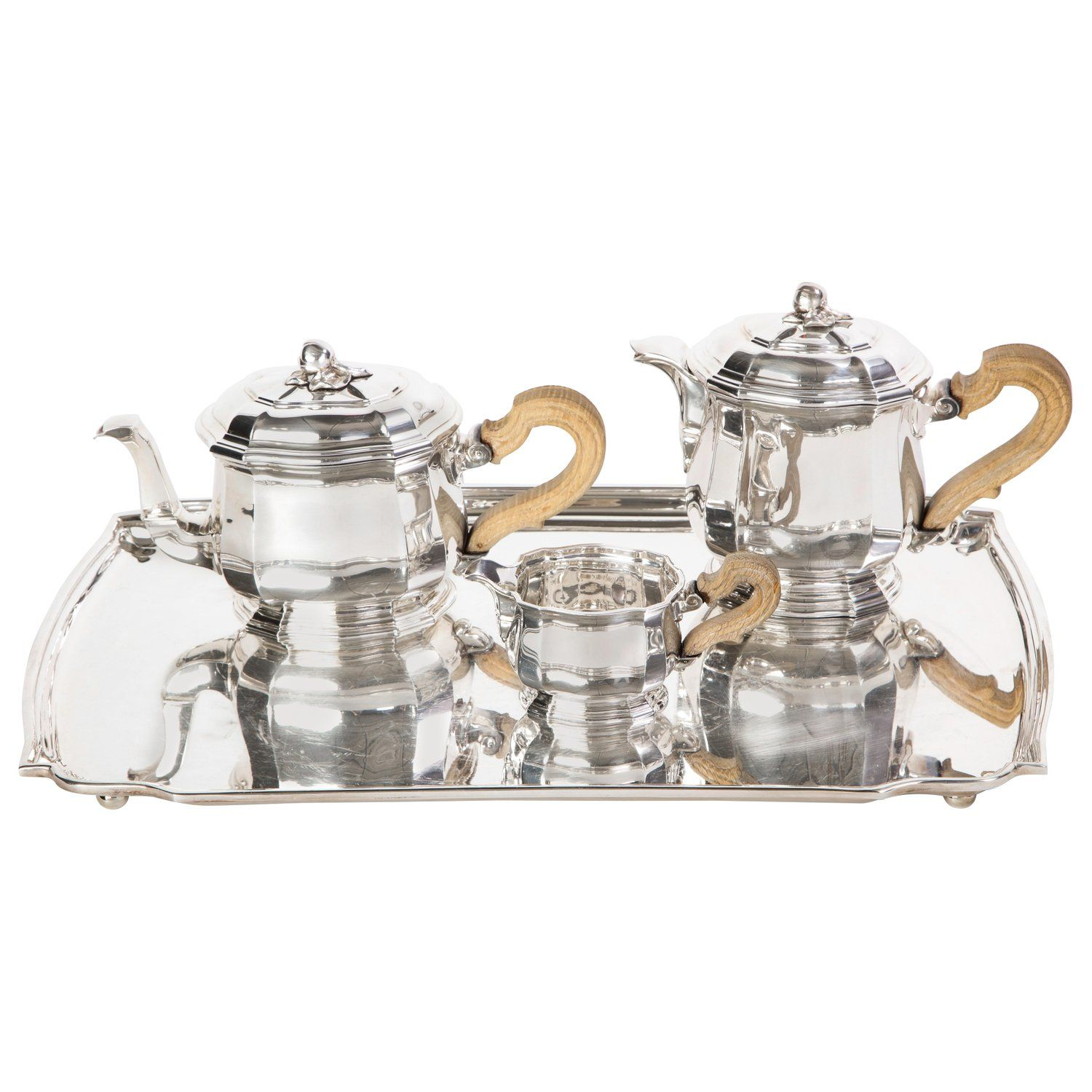 French ThreePiece Tea and Coffee Set in Silver, Mark of