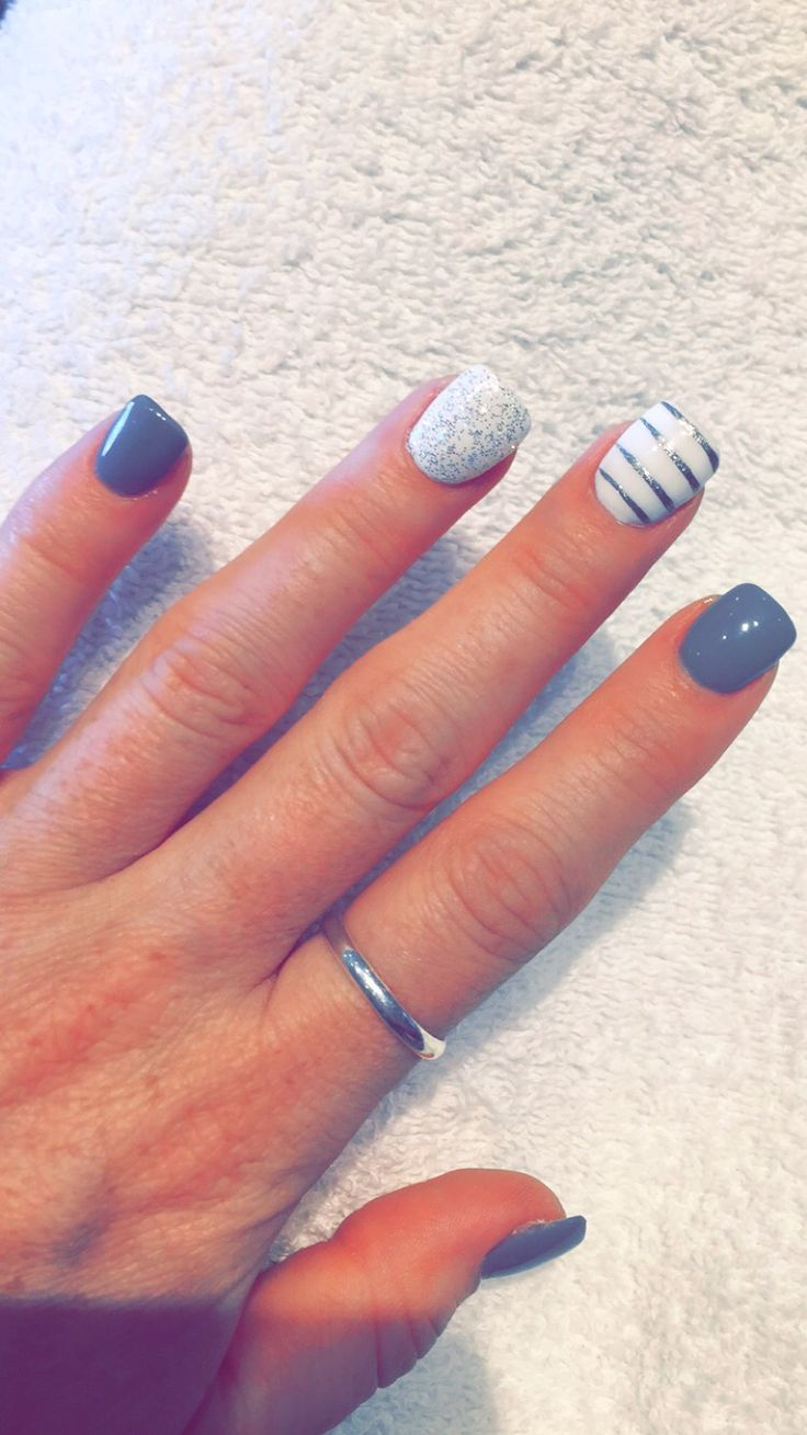 nice New gel nails- grey is the color of the day!... | Gel Nail ...