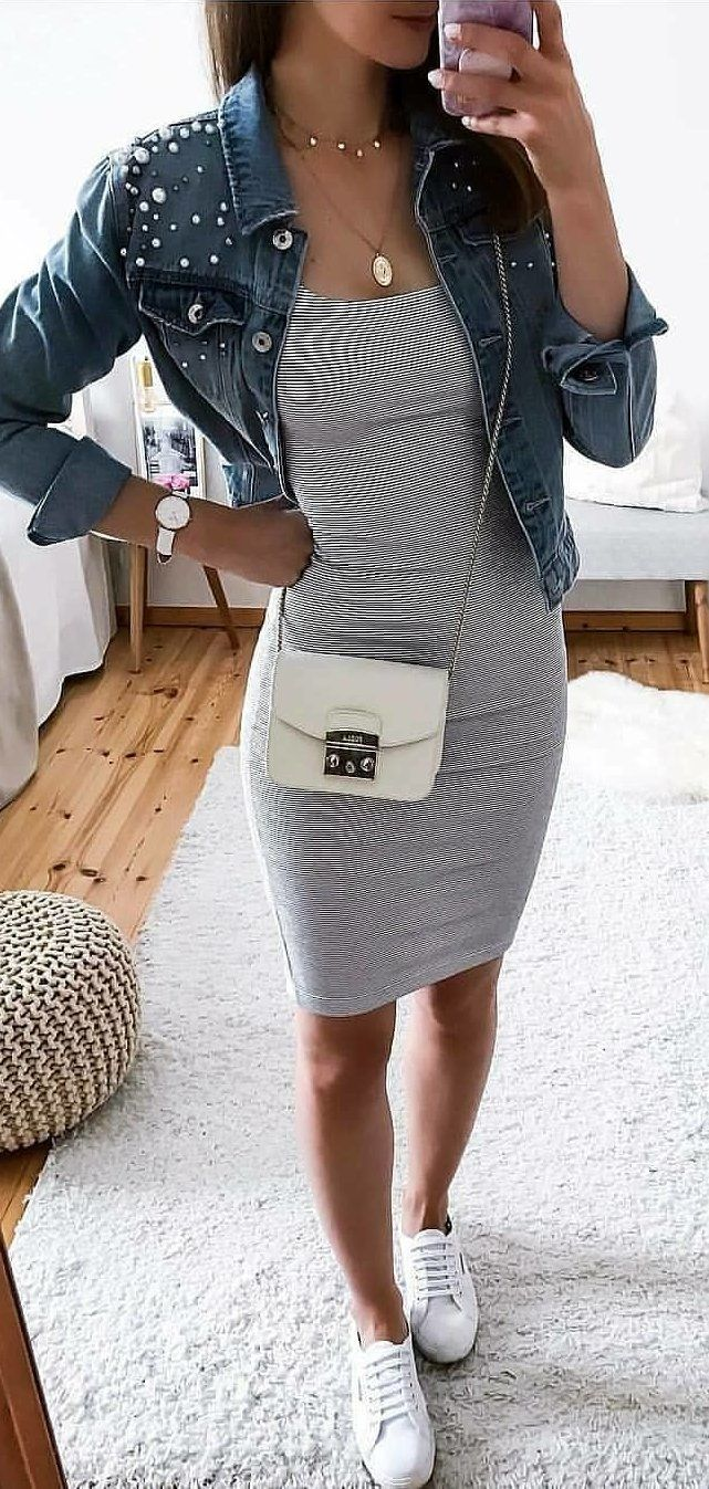 grey casual bodycon dress outfit