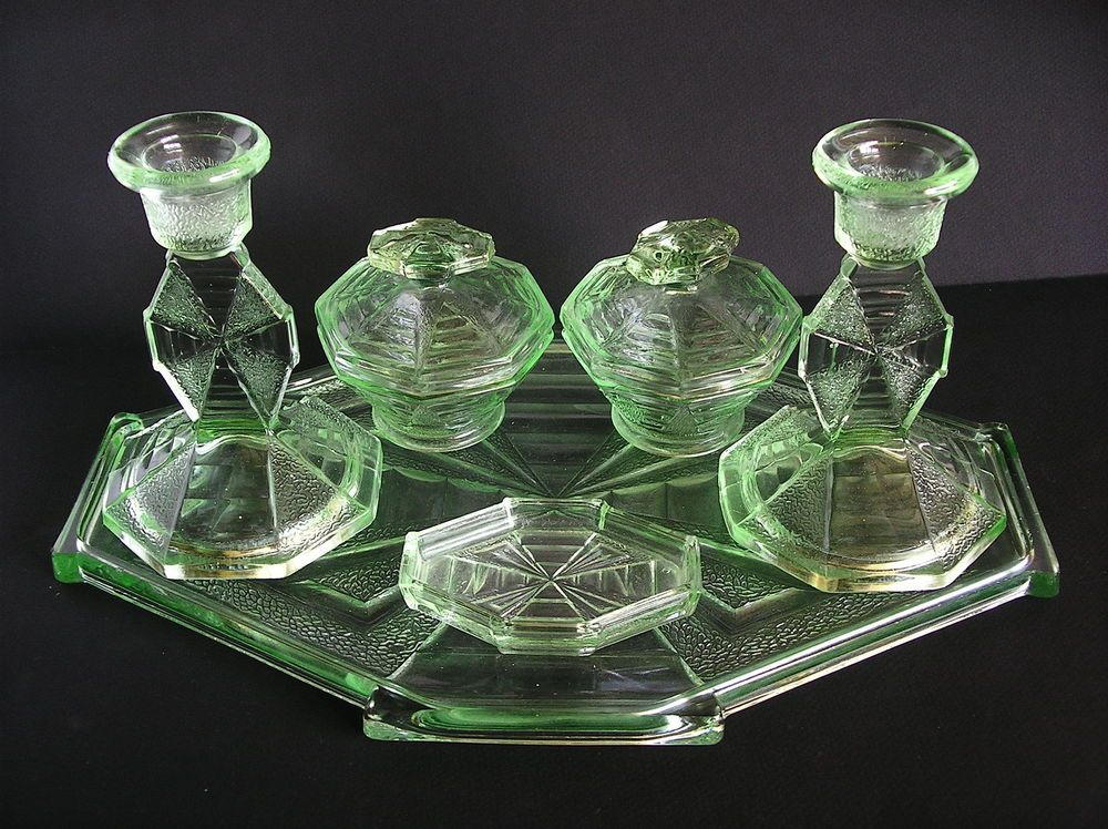Stunning Art Deco Green Glass Dressing Table Set In Excellent ...