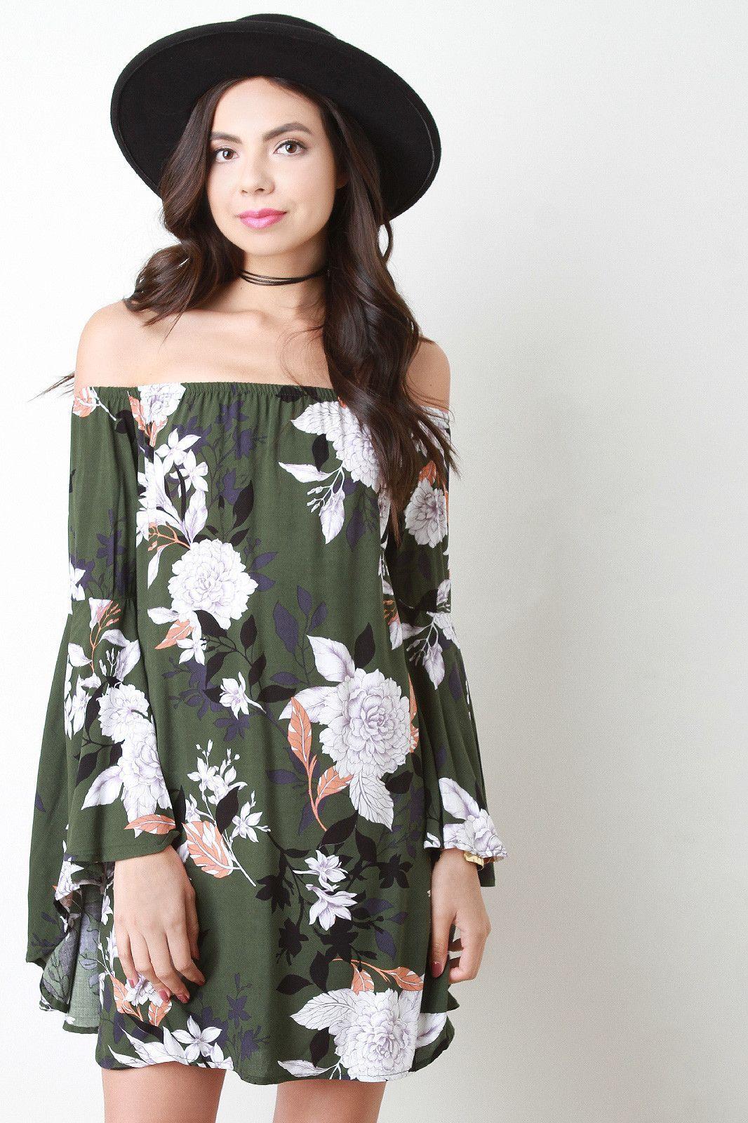 Floral print bell sleeve offtheshoulder shift dress products