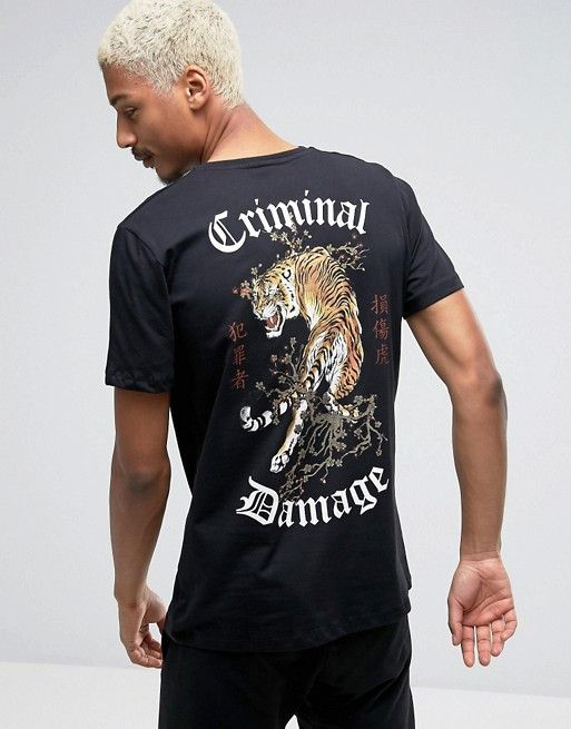 4b6a33d9c70dd Criminal Damage T-Shirt With Tiger Back Print