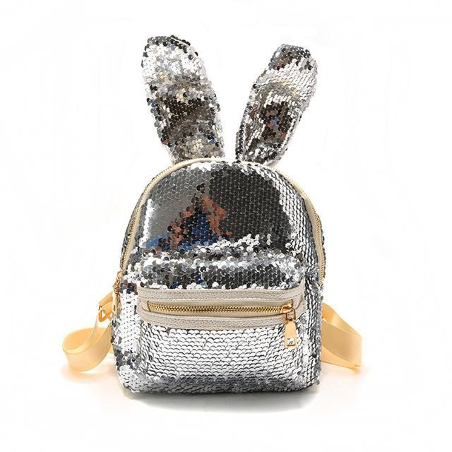 40e280595c0 Moon Wood Newest Bling Sequins Backpack Cute Big Rabbit Ears Double ...