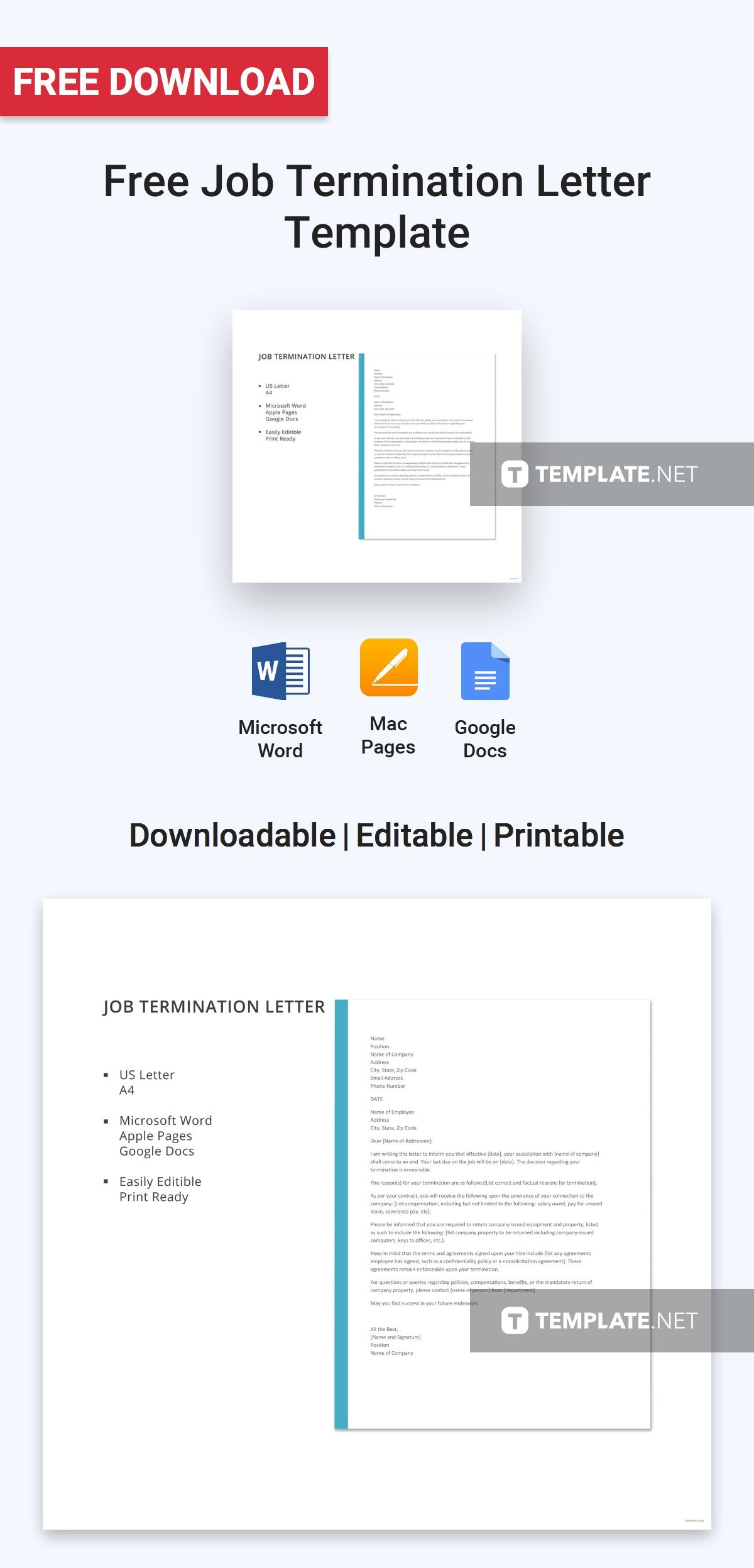 Free Job Termination Letter | Pinterest | Letter Templates, Template And  Patterns