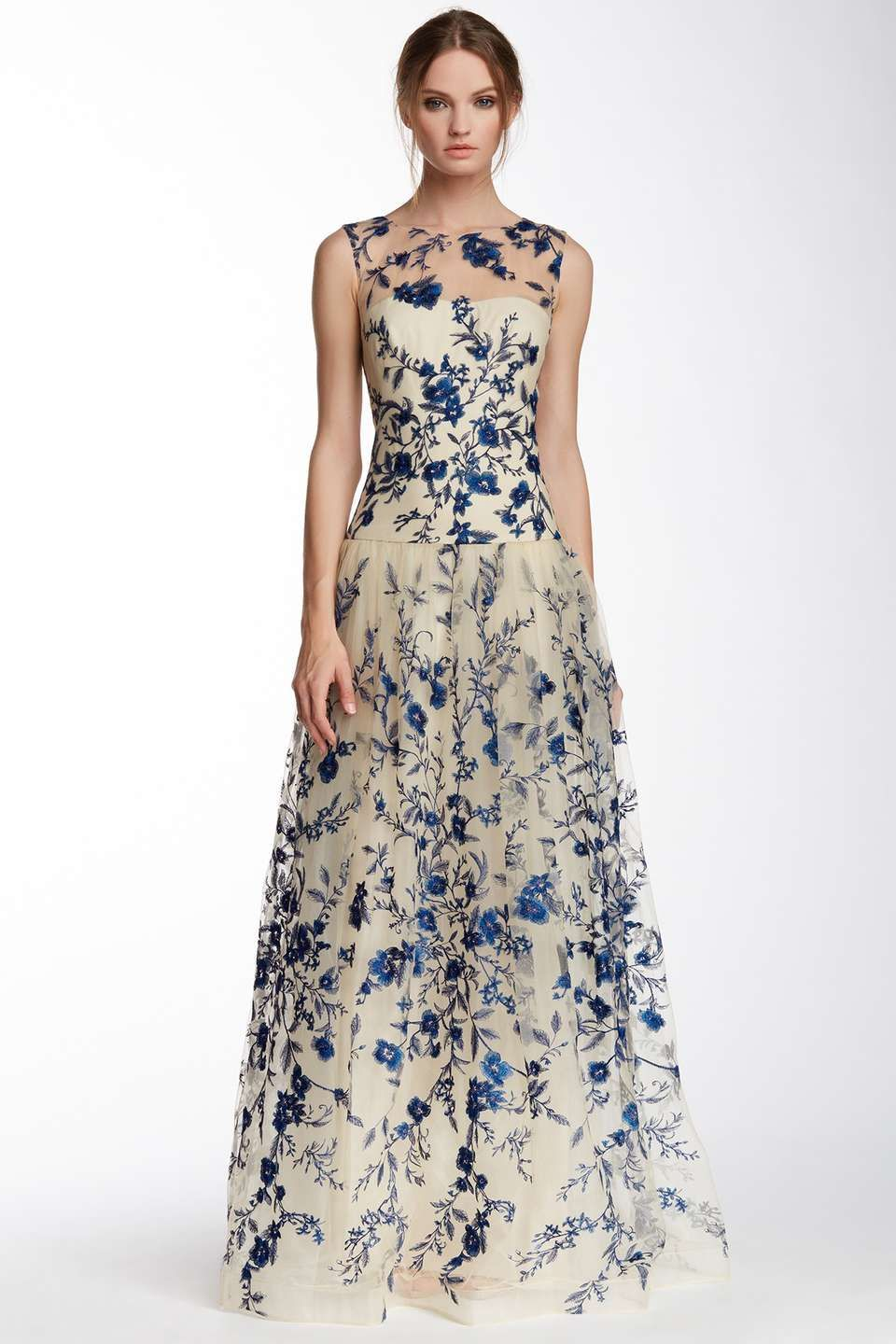 Marchesa illusion neck floral embroidered gown recital dress