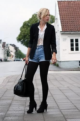 Black Hose Under Jean Shorts 90s Fashion Pinterest Shorts