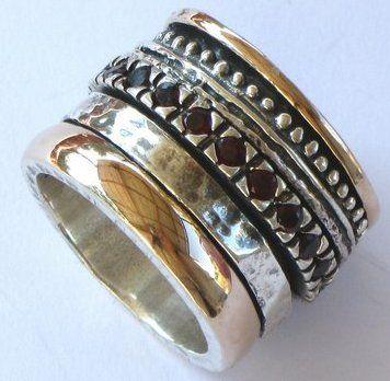 Silver And Gold Spinning Ring Israeli Designer