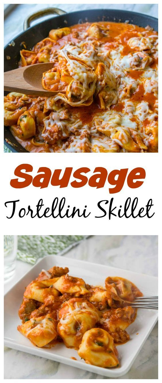 Sausage Tortellini Skillet – Your favorite tortellini comes together in a quick and easy hearty one pan meal the whole family will love! #easyonepotmeals