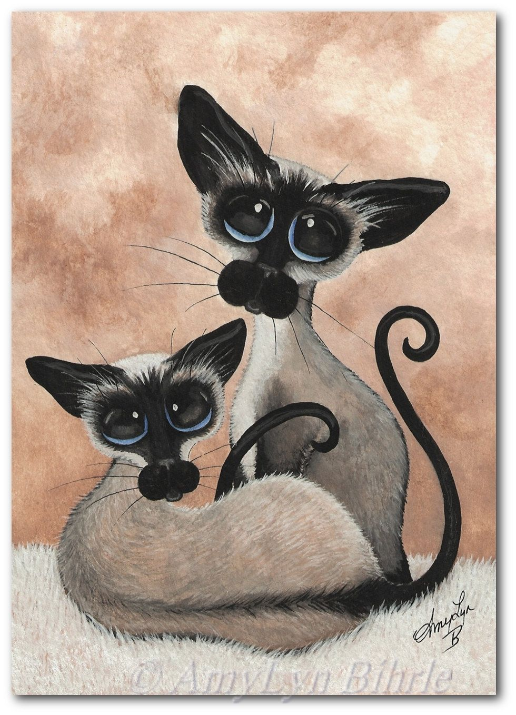 Siamese Cat Siblings Art Prints & ACEOs by Bihrle by AmyLynBihrle, $8.99