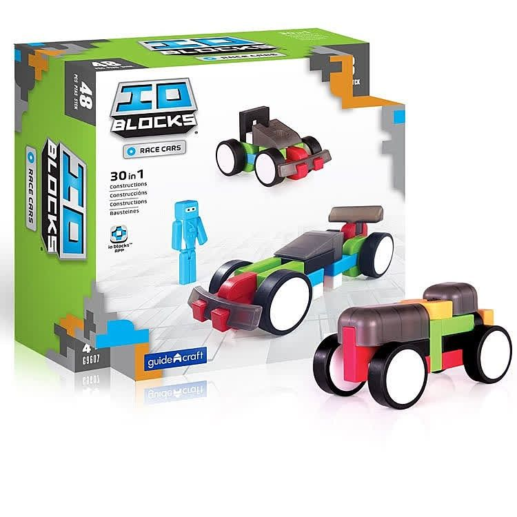 This IO Blocks vehicle building set features 48 pixelated soft ...