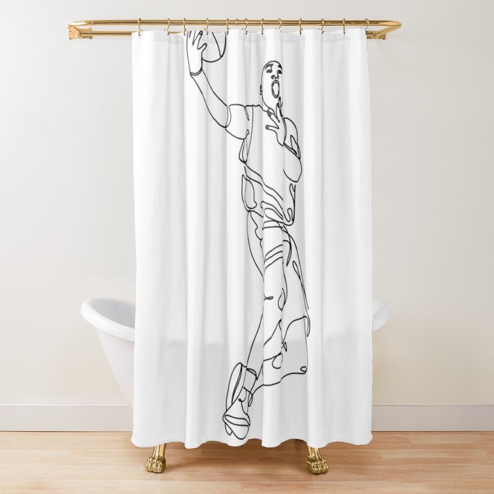 Basketball Player Line Drawing By Onelineprint Redbubble In 2020 Line Drawing Basic Shower Curtain Printed Shower Curtain