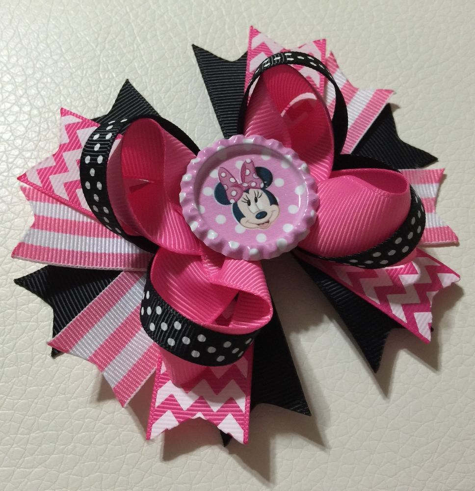 Handmade Hot Pink And Black Disney Minnie Mouse Boutique Stacked Hair Bow #Handmade