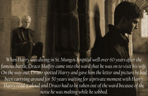 When Harry was dying in St. Mungos hospital well over 60 years after the famous battle, Draco Malfoy came into the ward that he was on to visit his wife. On the way out, Draco spotted Harry and gave him the letter and picture he had been carrying around for 50 years waiting for a private moment with Harry. Harry read it aloud and Draco had to be taken out of the ward because of the noise he was making while he sobbed.
