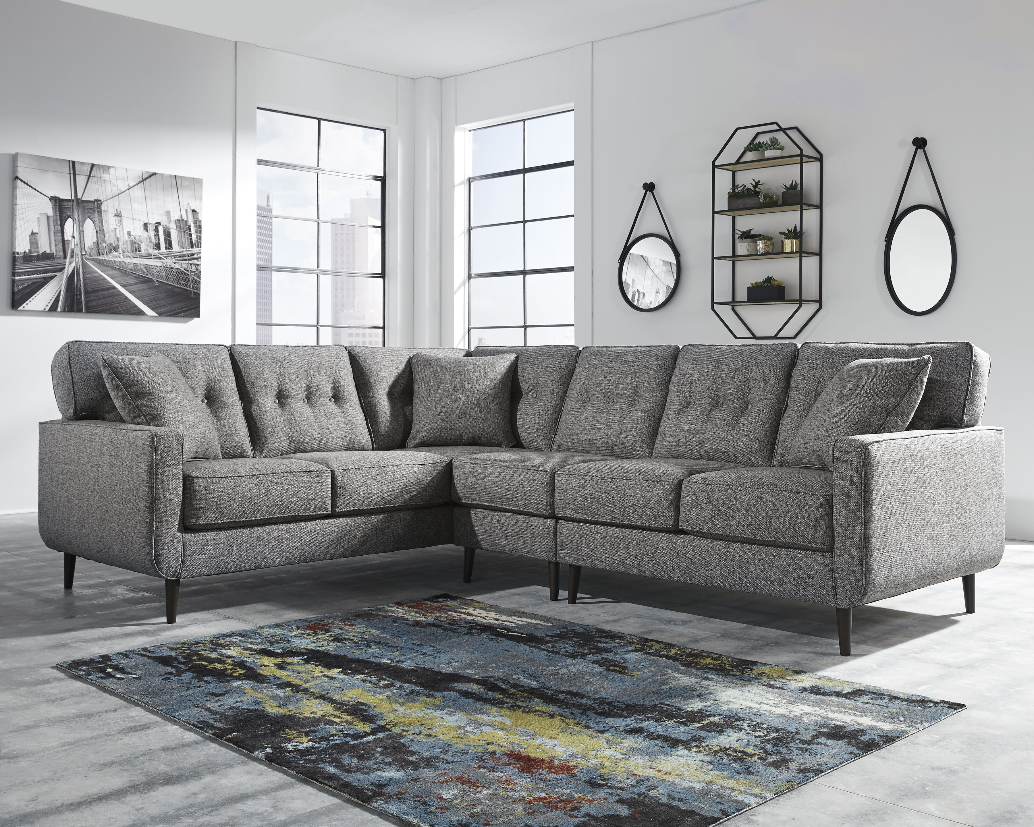 Zardoni 3 Piece Sectional Charcoal Furniture Ashley