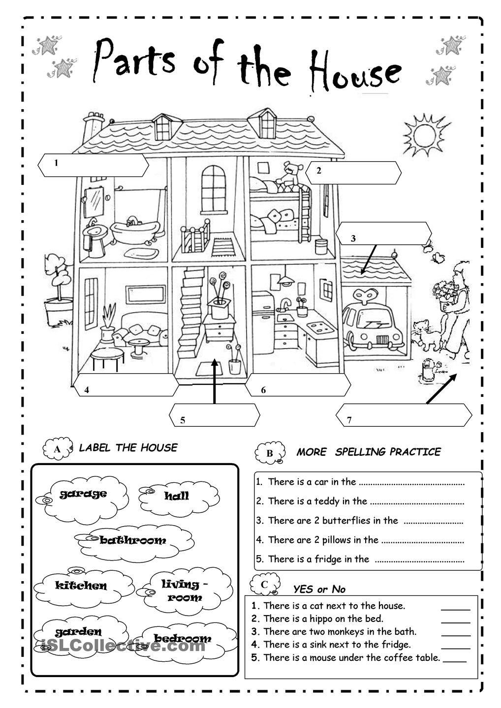 Parts Of The House Hojas De Calculo Aprender Ingles Para Ninos