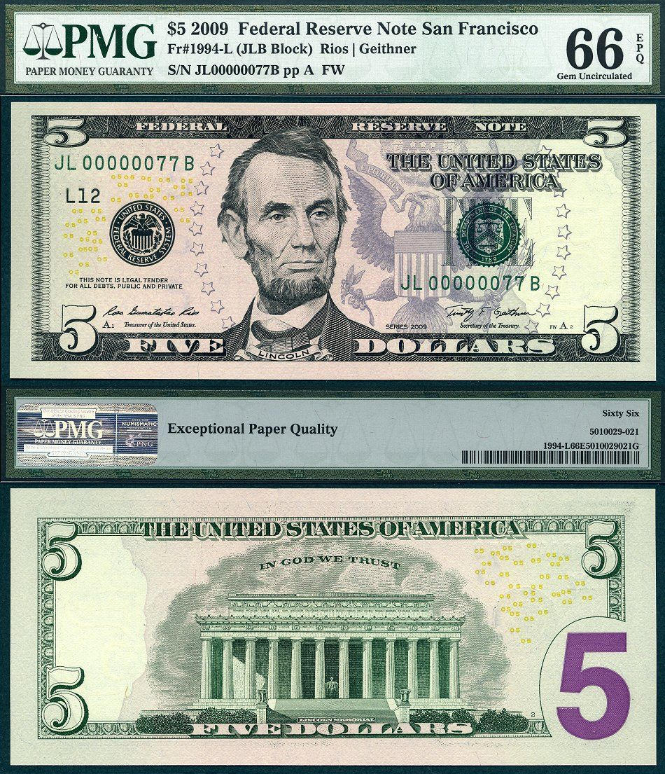 2009 5 Federal Reserve Note Low Serial Number 77 Money