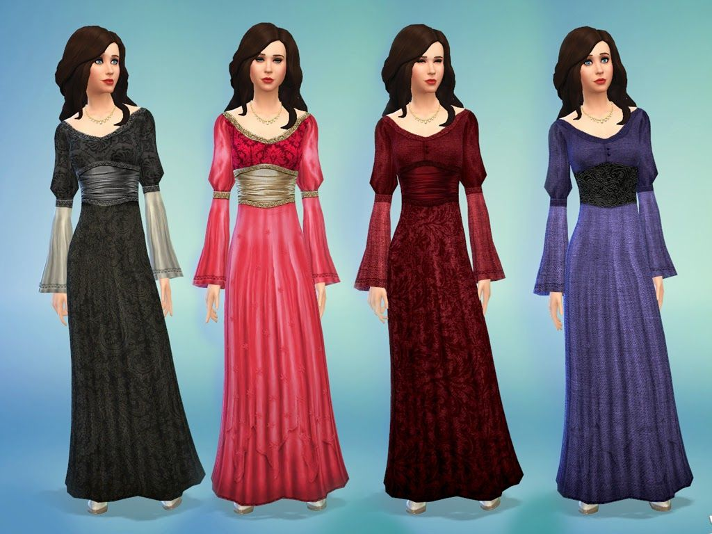 My Sims 4 Blog: Medieval Times - Dress by nikova - I LOVE that shade ...
