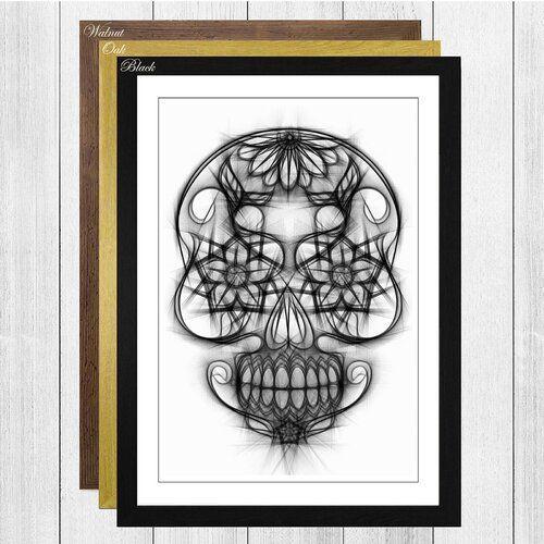 East Urban Home Gerahmtes Poster Sugar Skull Tattoo 3, Grafikdruck |  -  Gerahmtes Poster Sugar Sku