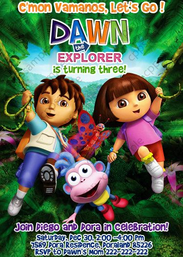 Dora the Explorer and Diego Invitation Birthday Party Invitation