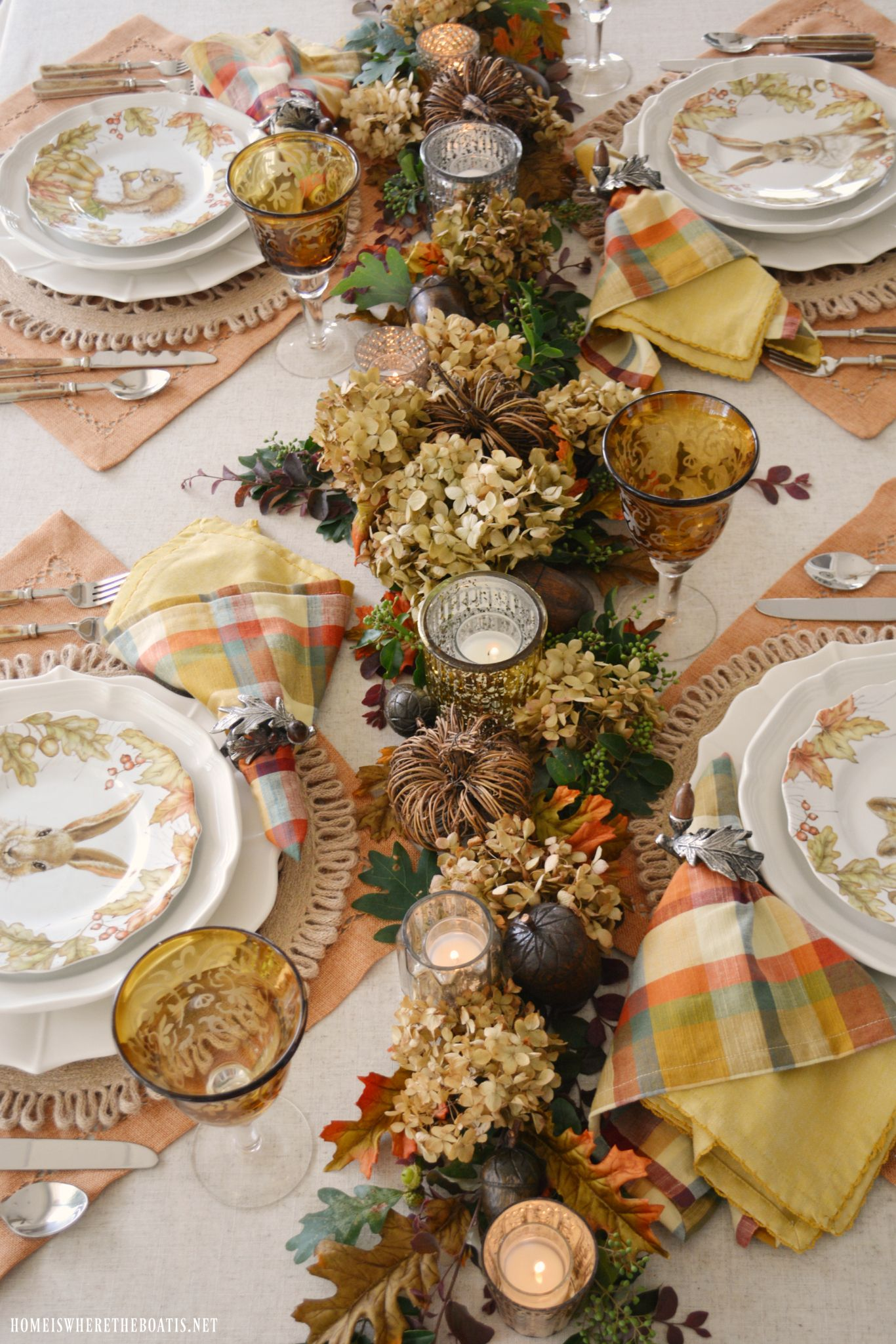 A Fall Table With Woodland Friends And Diy Table Runner Natural