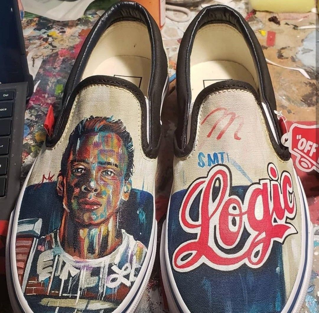 96d6f9da231 Whose a fan of these Logic the rapper Vans  Done by  lucha loafers  vans