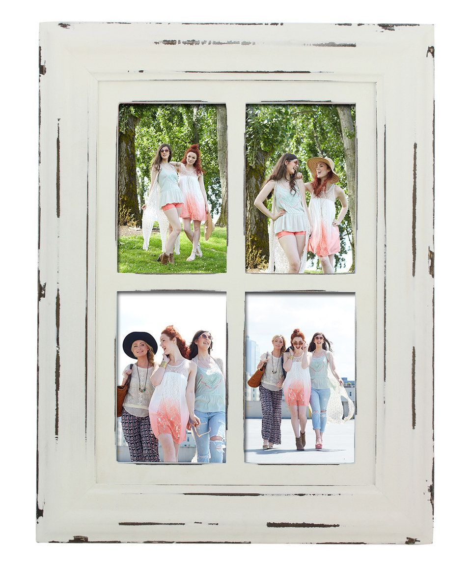 White Distressed Wood Four Slot Frame How To Distress Wood Frame Rustic Frames