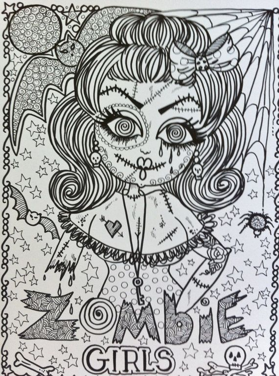 COLORING BOOK ZomBie GiRL Adult Coloring Book for you to color and ...