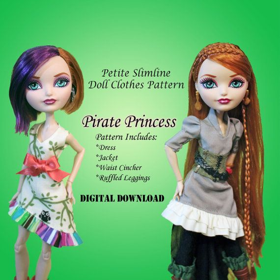 Pirate Princess dress Doll Clothes PDF Sewing Pattern for Petite ...