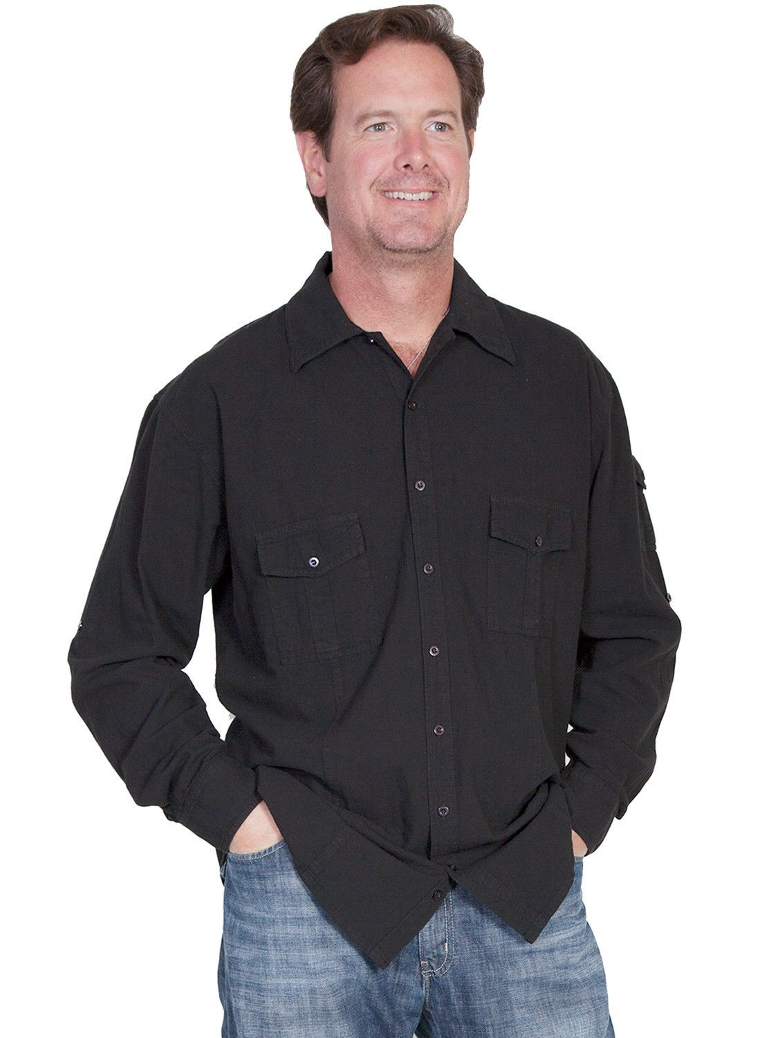 Scully Cantina Mens Black 100% Cotton Casual Sport Shirt