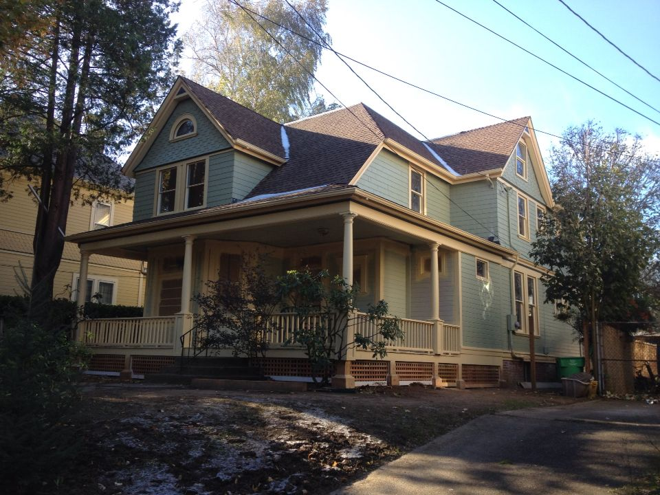 Restoration Of A Farmhouse Victorian Asbestos Siding Removed Porches And Trim Repaired New Coat Of Paint House Paint Exterior House Styles Old Houses