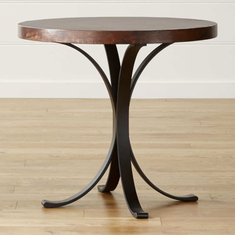 Shop Cobre 32 Round Iron Bistro Table With Copper Top Meticulously Hammered By Hand The Co Bistro Table Bistro Table Outdoor Coffee Table Crate And Barrel