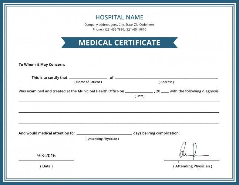 Australian doctors certificate template doctors note