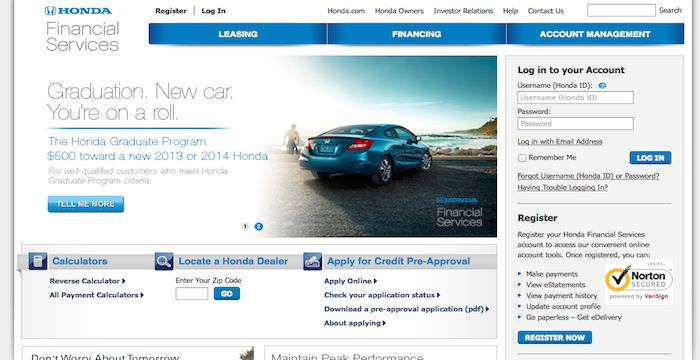 Honda Financial Login
