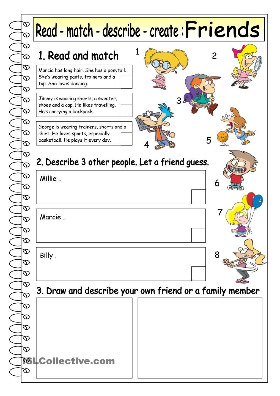 worksheet Family And Friends 1 Worksheets read match describe create friends 4 esl 2 pinterest animals worksheet free printable worksheets made by teachers