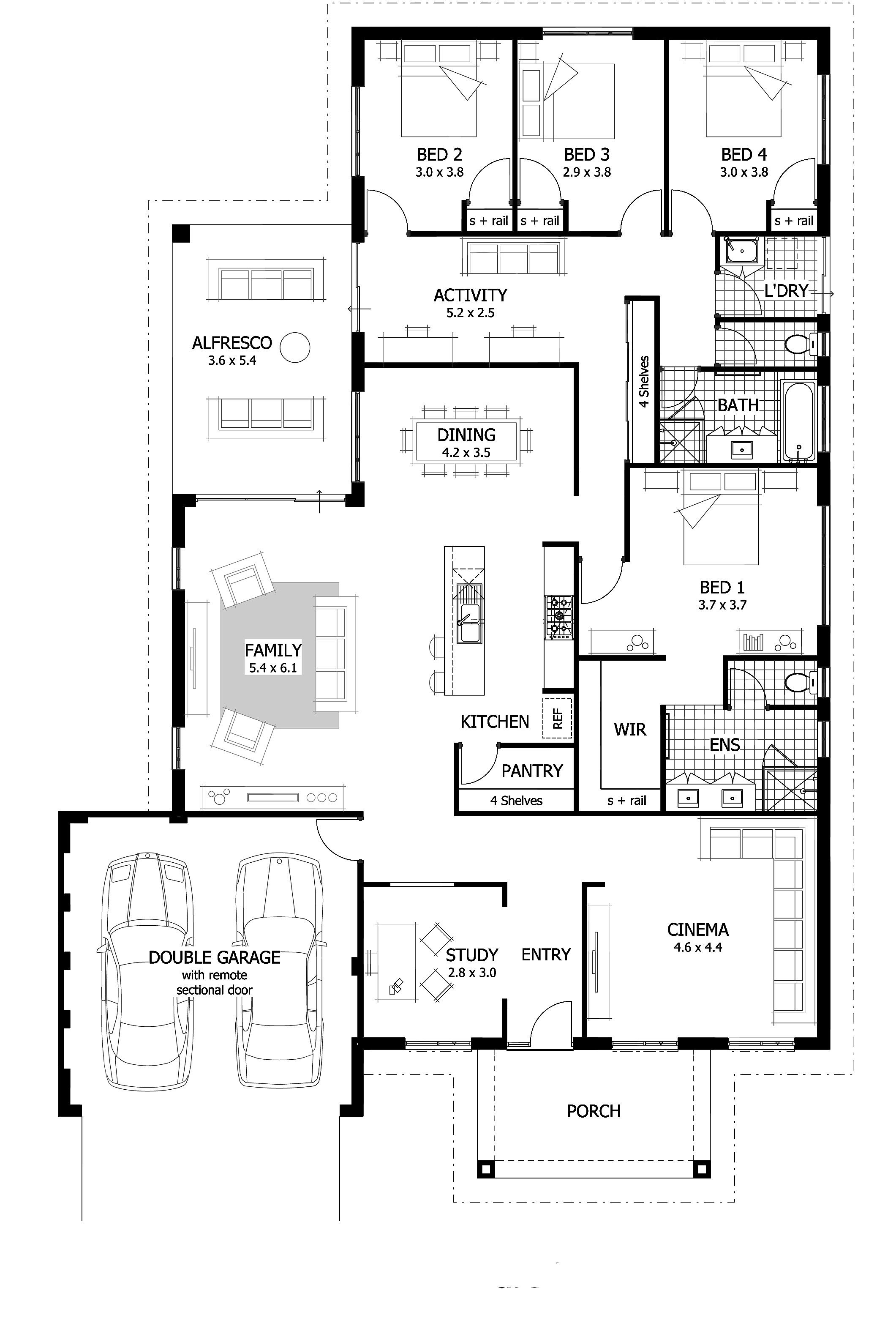 4 bedroom house plan. Keaton Floor Plan  The is the ultimate family home offering of total area that includes a study cinema activity room and large undercover Hi there Today I have this featuring