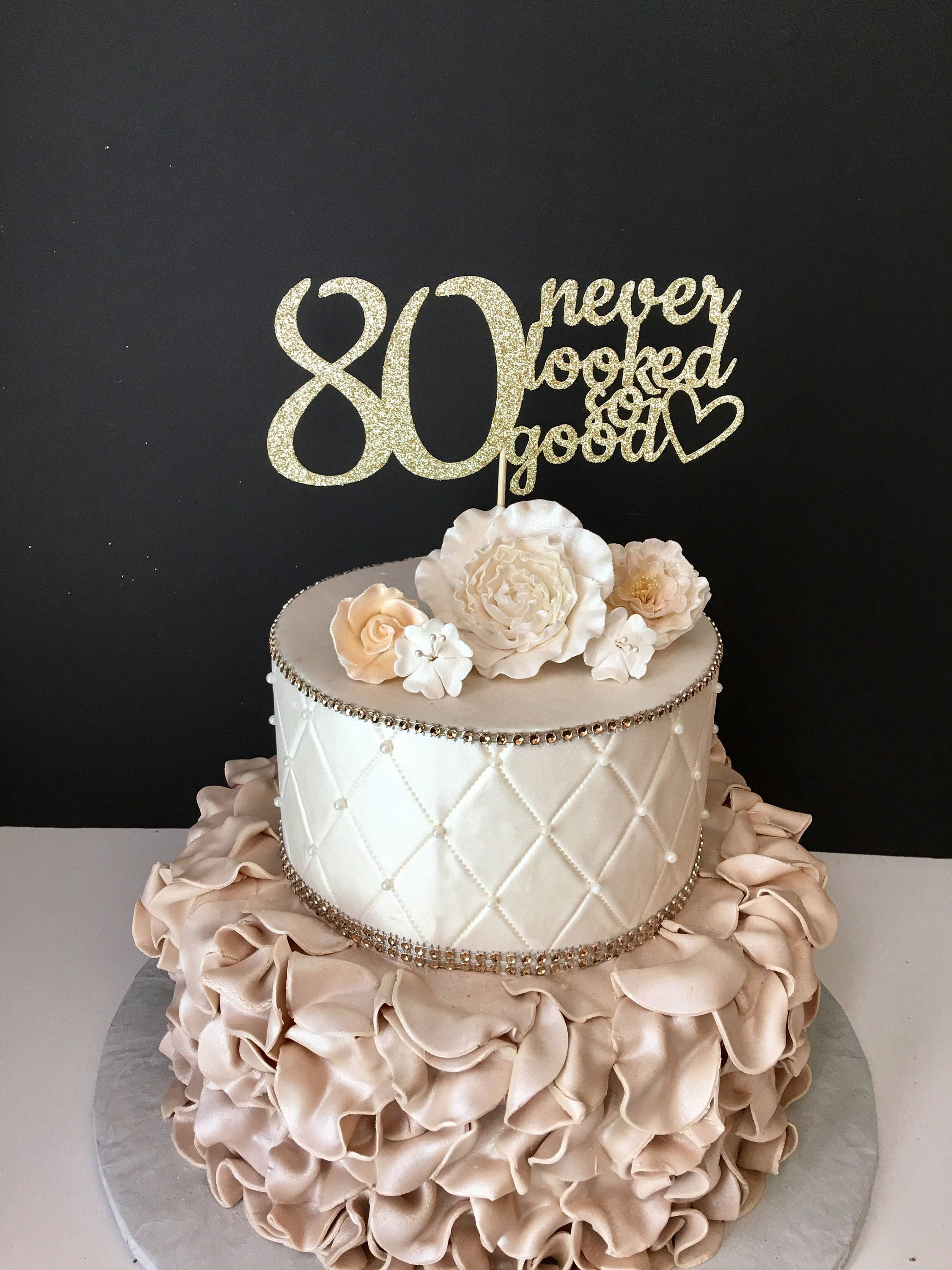 ANY NUMBER Gold Glitter 80th Birthday Cake Topper 80 Never Looked So Good