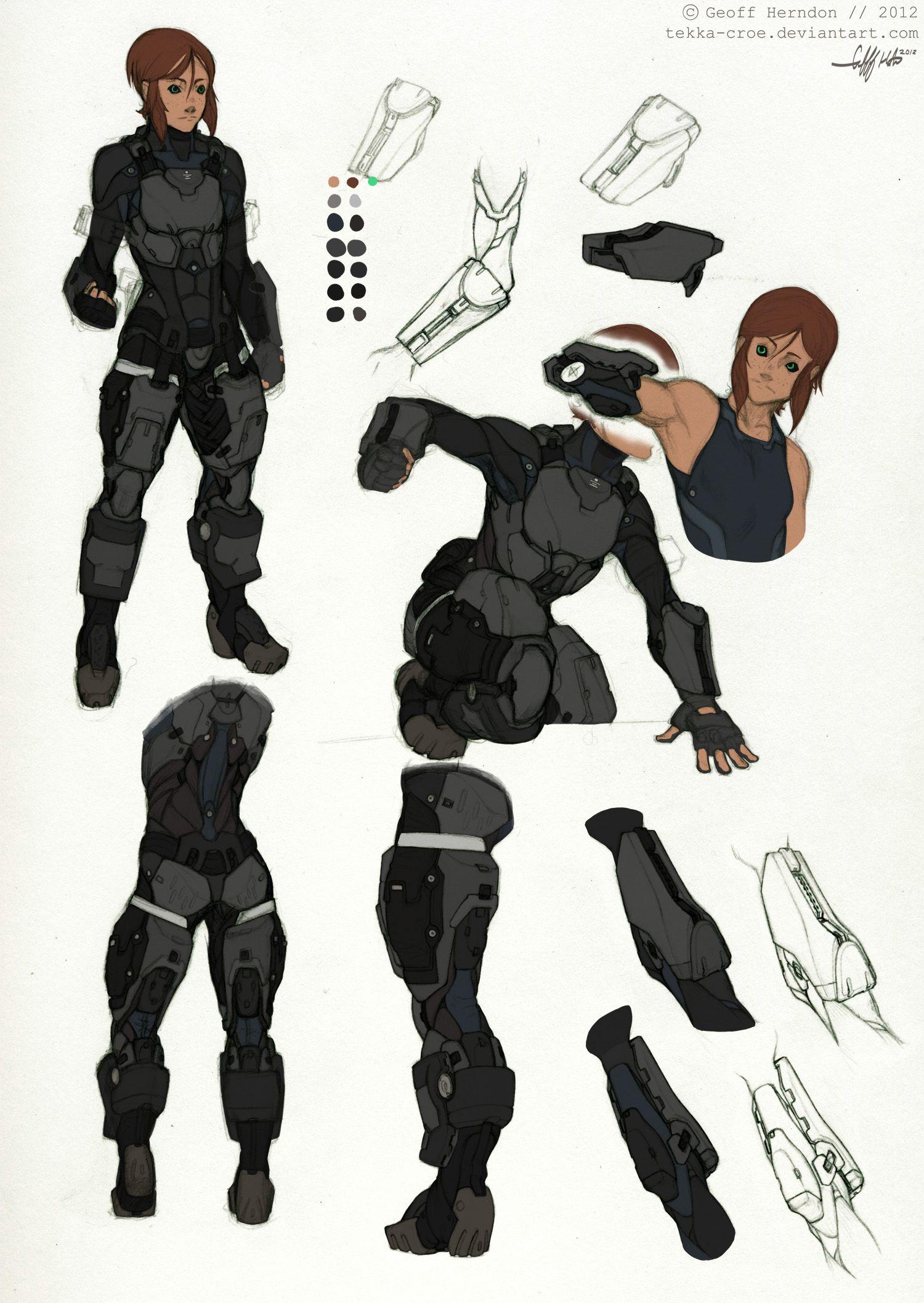 Ballistic Character Design Pdf : Reina armor studies by tekka croe viantart on