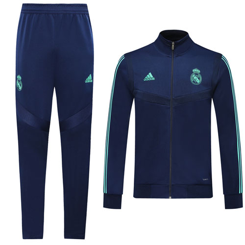 19 20 Real Madrid Blue High Neck Collar Training Kit Jacket Trouser